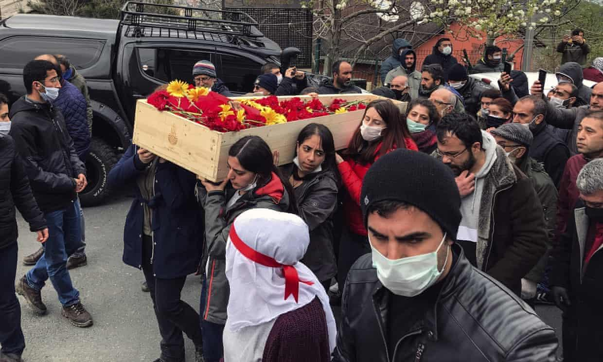 Mourners carry Helin Bolek's coffin during the funeral procession in Istanbul