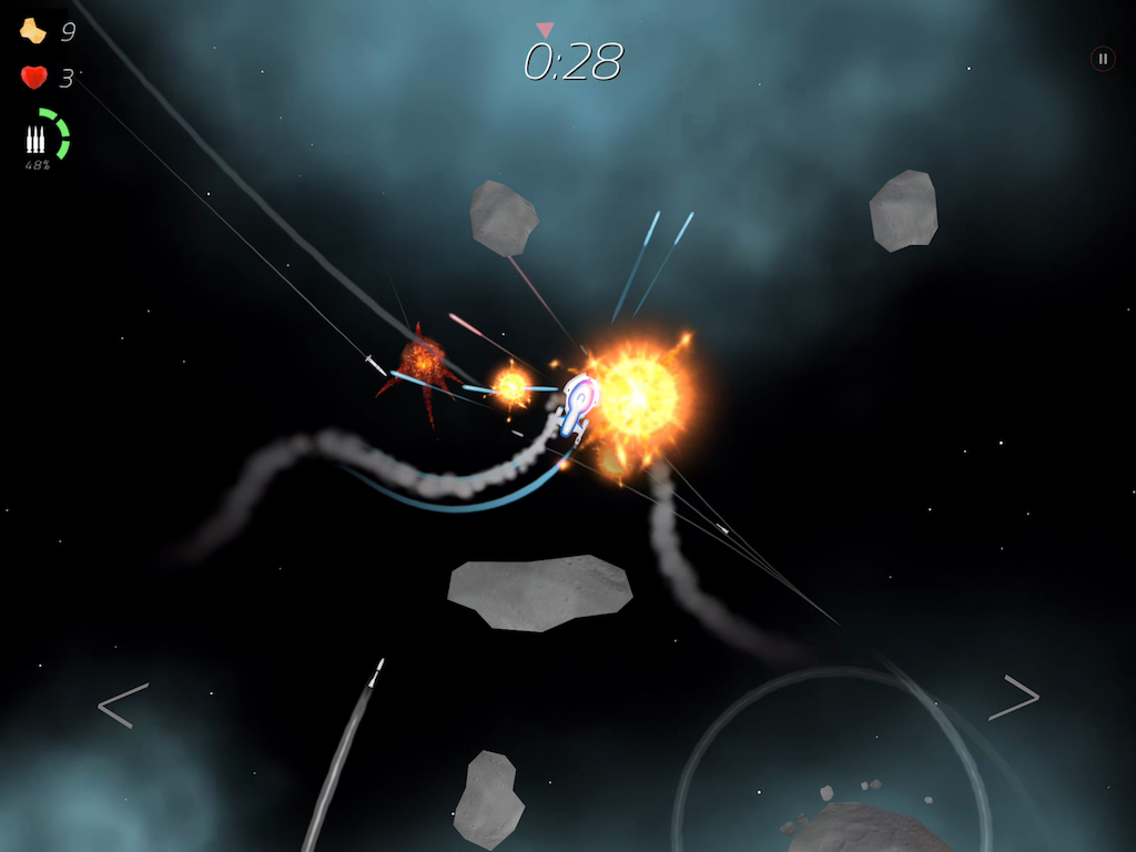 2 Minutes in Space - Missiles Vs. Asteroids- screenshot