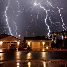 by Bryan Snider - City,  Street & Park  Street Scenes ( lightning, arizona lightning, thunderstorm, monsoon, arizona monsoon, arizona, maricopa, weather, storms, storm, phoenix )
