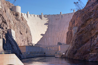 Photo: Hoover Dam with the power plants at the base.