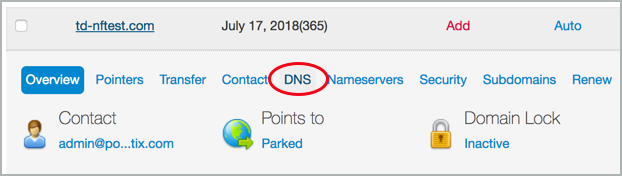 A red circle highlights the DNS option