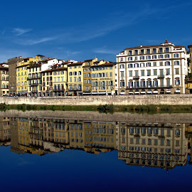 Reflections in the Arno #2 by Cal Brown - City,  Street & Park  Vistas ( historic district, city, reflections, street, buildings, river, vista, street photography, arno,  )