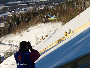 """Photo: World Cup Ski flying Vikersund HS225 - Some of the jumpers gained considerable height even in this new hill, designed for """"low flying"""" compared to old fashioned ski jumping hills"""