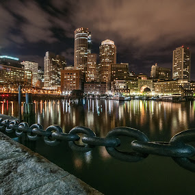 South Boston by Alex Zak - City,  Street & Park  Skylines ( water, skyline, boston, chain, ma, south, reflections, night, view, city )