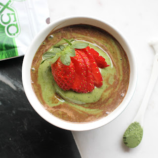Green Smoothie Bowl With Chocolate Swirls