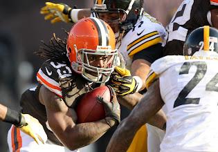 Photo: Trent Richardson runs against the Steelers. (Joshua Gunter, The Plain Dealer)