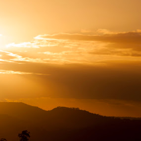 Sunset over Gowrie Mountain by Jan Crawford - Landscapes Sunsets & Sunrises ( mountain, silhouette, sunset, cloud, golden hour,  )