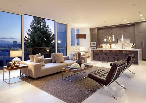Thiết kế cửa tạo không gian thông thoáng cho phòng khách và phòng ăn