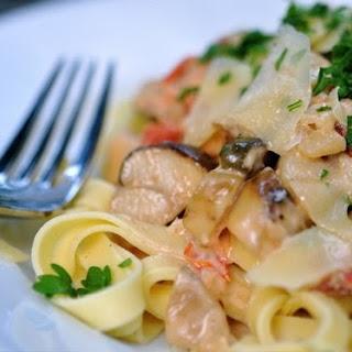 Fettucini with Porcini, Pancetta & Tomato Cream Sauce