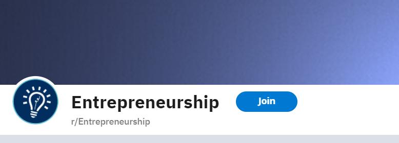 Screenshot of subreddit r/Entrepreneurship