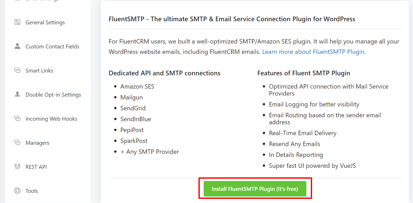 installing fluentsmtp from fluentcrm