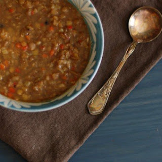 Lentil-Sweet Red Pepper Soup with Cumin and Black Pepper.