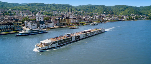 Viking Mani sails on the Rhine past the historic town of Boppard, Germany.