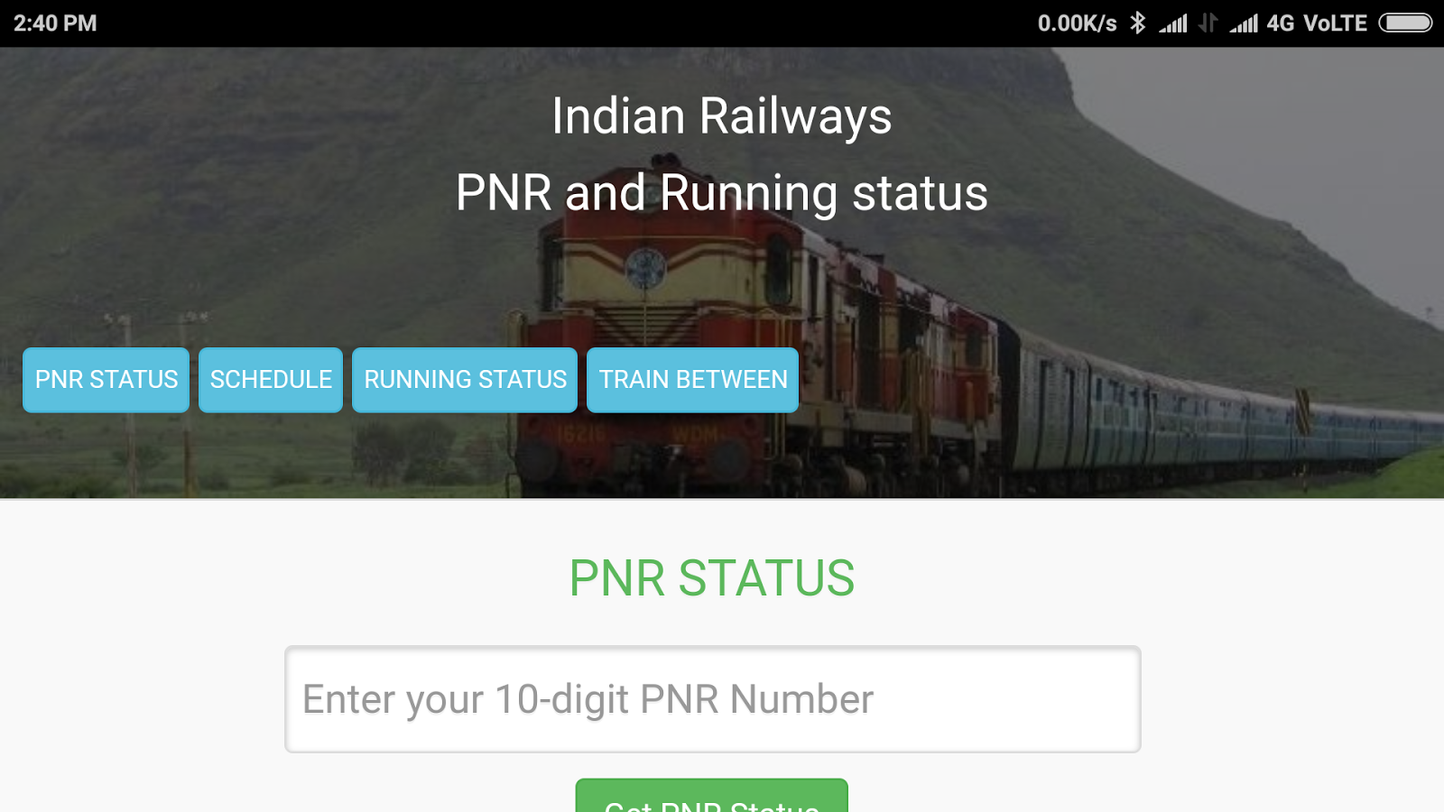 Rail running status and train time table, PNR APP- screenshot