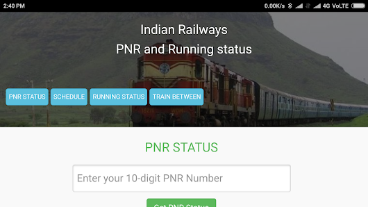Rail running status and train time table, PNR APP