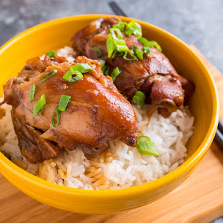 Pressure Cooker Chinese Red Cooked Chicken Thighs.