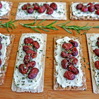Roasted Grape and Goat Cheese Topped Wasa Crackers.