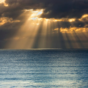 Ray of Life by Rulie Arifin - Landscapes Beaches ( clouds, port elizabeth, boats, south africa, morning glory, ray of light, sunshine, beauty )