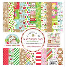 Doodlebug Double-Sided Paper Pack 12X12 12/Pkg - Christmas Town