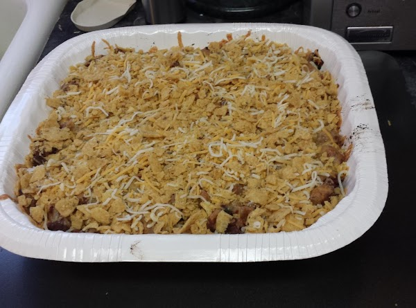 Taco Casserole Layer:  Corn kernels, beans, taco meat mixture*, 1½ cups shredded cheese. Bake...