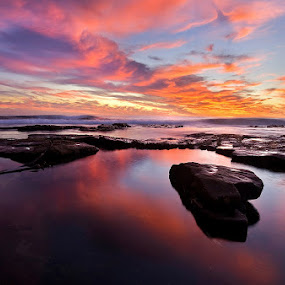 Winter skies  by Juan Wernecke - Landscapes Waterscapes ( clouds, orange, juan wernecke, waterscape, south africa, reflections, rock, beach, seascape, landscape, dusk, cape town, dawn, blue, sunset, brown, sunrise, western cape )