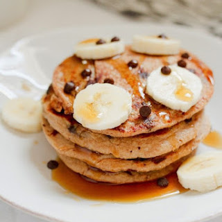 Chocolate Chip Banana Cottage Cheese Protein Pancakes.