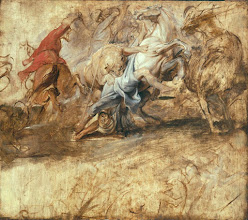 Photo: Peter Paul Rubens, Oil sketch for the Lion Hunt, 1621-22