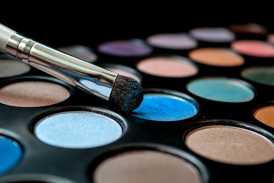 Blue Eyes by Emily Schmidt - Artistic Objects Still Life ( pwcstilllife-dq, eye shadow, colors, makeup, brush, colorful, mood factory, vibrant, happiness, January, moods, emotions, inspiration,  )