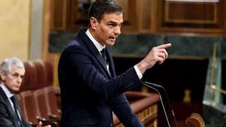 El presidente del Gobierno, Pedro Sánchez, durante su réplica en la sesión del Parlamento.