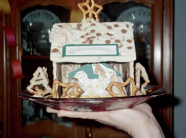 We Made A Stamp (on Paper) Image Of The Manger Scene & Did A 3-sided Chocolate 'house' To Show Off The Nativity