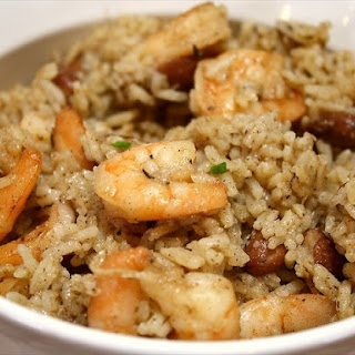Spicy Jerk Shrimp, Rice & Beans -Rice Cooker.