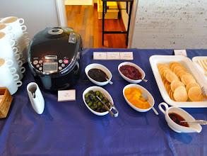 Photo: More breakfast: White rice, pickles, jam, marmalade, pancakes.