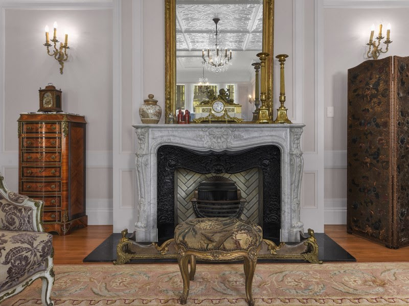 The imported decorative French fire place with Art Nouveau detail