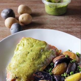 Roasted Pesto Salmon with Baby Potatoes and Peas