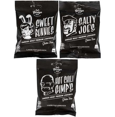 Sweet bunnies/Salty Joe´s/Hot chili Gimps´s/Garage bar - söt/salt/chili-lakrits - Lakritsfabriken i Ramlösa