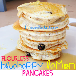 """Flourless"" Blueberry Lemon Pancakes"