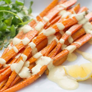 Moroccan Roasted Carrot Salad with Yogurt Dressing.