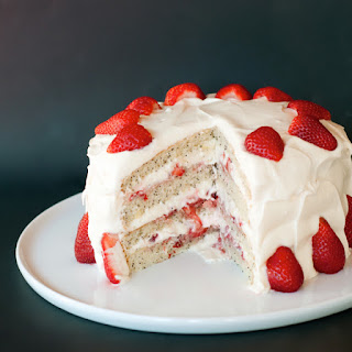 Billowing Strawberry Poppy Seed Layer Cake