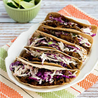 Pressure Cooker Low-Carb Flank Steak Tacos with Spicy Mexican Slaw.