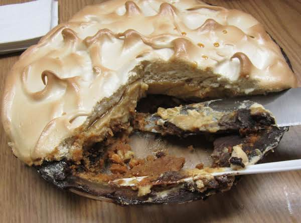 Layers Of Nut-filled Crust, Chocolate, Butterscotch, And Brown Sugar Meringue.  Yum!