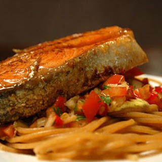 Salmon Steak On Tomatoe Salsa