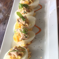 Bacon and crab deviled eggs