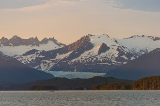 Photo: Mendenhall Glacier at sunset from Favorite Channel