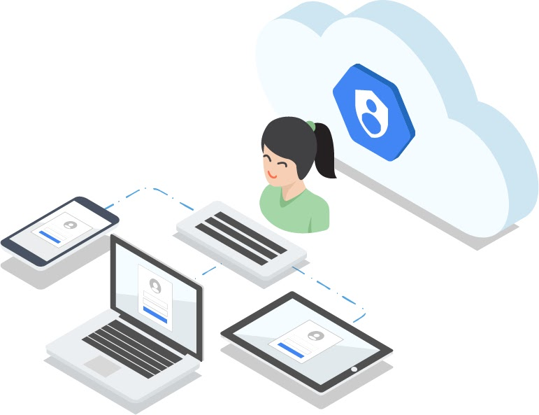 Illustration of woman sitting in front of cloud with Cloud IAM icon and in front of keyboard which is networked to a mobile phone, laptop, and tablet
