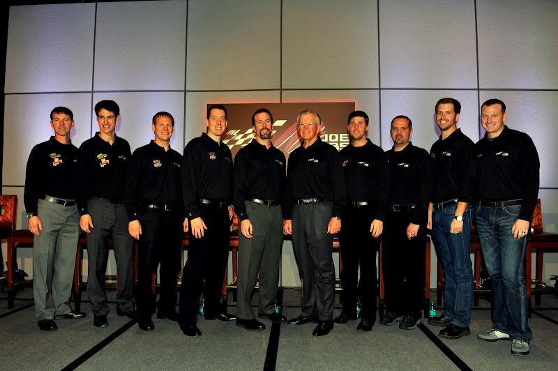 Photo: 23 January 2012, Concord, North Carolina, USAJoe Gibbs with his drivers and Crew Chiefs at the Joe Gibbs Racing Media Tour press conference(c)2012, Nigel KinradeAutostock