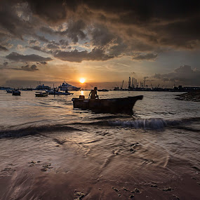 back in the sunset by Sherry Zhao - Landscapes Sunsets & Sunrises ( sunset, sea, west coast, beach, boat )