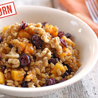 Einkorn Wheat Berry Winter Breakfast Bowl.