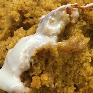 Pumpkin Bread with Maple Cream Icing.