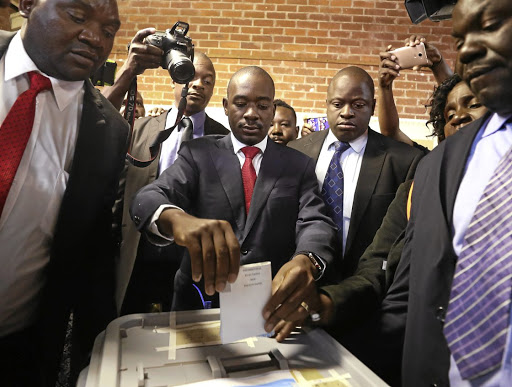 Movement for Democratic Change (MDC) leader Nelson Chamisa casts his ballot in Zimbabwe's general elections in Harare on July 30 2018. Picture: REUTERS