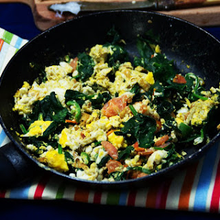 Scrambled Eggs With Tomatoes And Spinach Recipes.